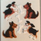 Sandylion Fuzzy Stickers DOGS & BONES Puppies Retro Rare Vintage FM086