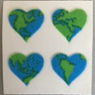 Sandylion Fuzzy Stickers EARTH HEARTS Retro Rare Vintage Retired FM172