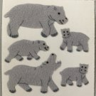 Sandylion Fuzzy Stickers HIPPO HIPPOPOTAMUS Retro Rare Vintage Retired FM220