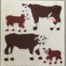 Sandylion Fuzzy Stickers HEREFORD COWS Retro Rare Vintage Retired FM230