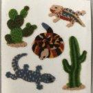 Sandylion Fuzzy Stickers DESERT LIFE Cactus Lizard Snake Retro Rare Vintage Retired FM260