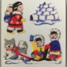 Sandylion Fuzzy Stickers ESKIMOS igloo ice dogsled huskie Retro Rare Vintage Retired FM330