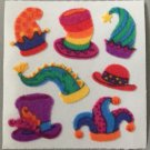 Sandylion Fuzzy Stickers HATS Colorful jester top christmas jingle Retro Rare Vintage Retired FM339