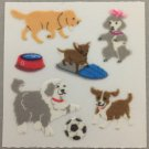 Sandylion Fuzzy Stickers DOGS Puppies Retro Rare Vintage Retired FM341