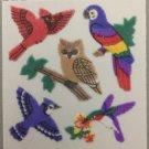 Sandylion Fuzzy Stickers BIRDS Cardinal Owl Parrot Humming Bird Retro Rare Vintage Retired FM352