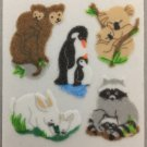 Sandylion Fuzzy Stickers MONKEY RACCOON RABBIT PENGUIN KOALA Retro Rare Vintage Retired FM355