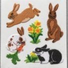Sandylion Fuzzy Stickers RABBITS Retro Rare Vintage Retired FM378