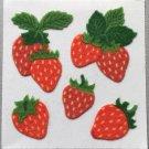 Sandylion Fuzzy Stickers STRAWBERRIES Strawberry Fruit Retro Rare Vintage Retired FM387