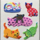 Sandylion Fuzzy Stickers Cat Kitten Retro Rare Vintage Retired FM394