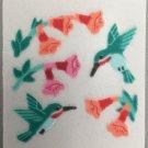 Sandylion Fuzzy Stickers TRUMPET FLOWERS HUMMINGBIRD Retro Rare Vintage Retired FM459