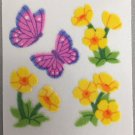 Sandylion Fuzzy Stickers BUTTERCUP FLOWERS BUTTERFLY Retro Rare Vintage Retired FM460