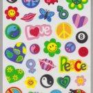 Sandylion Old MAXI Fuzzy Stickers Retro Symbols Peace Love Retro Rare Vintage Scrapbook FR107