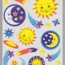 Sandylion Old MAXI Fuzzy Stickers CELESTIAL sun moon star Retro Rare Vintage Scrapbook FR118