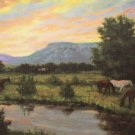 Linen Design Pastoral Mountain Stream with Horses Grazing