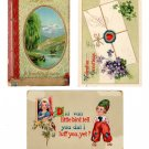 Postcards Valentine Greetings Pre-1930 Issue Set of 3 Vintage Daily Correspondence Postcards