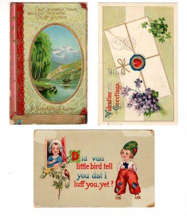 Postcards Valentine Greetings Pre-1930 Issue Set of 3 Vintage Daily Correspondence Postcards