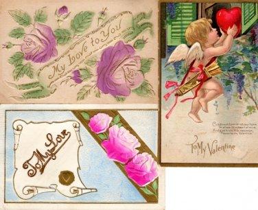 Valentine Love Post Cards Pre 1930 Era Collectible Set of 3