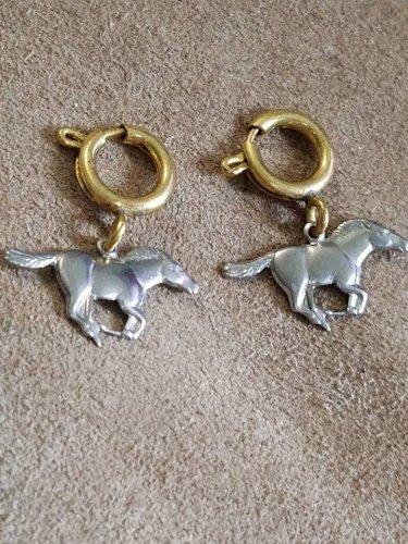 """1960s 1"""" wide silver tone metal Mustang horse charm on soldered brass loop with clasp lot of 2"""