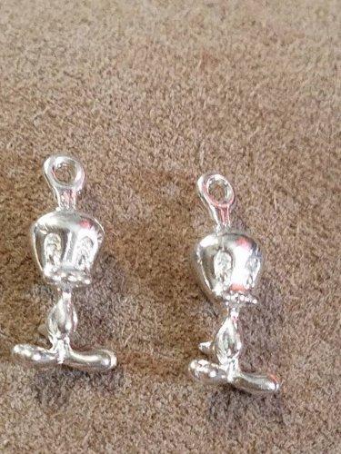"1960s 3/4"" tall metal Tweety Bird Charms 1 pair"