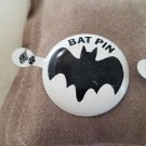 "Vintage larger 1 1/2"" diameter tin 1966 Batman Bat Signal pin White 1 PIN"