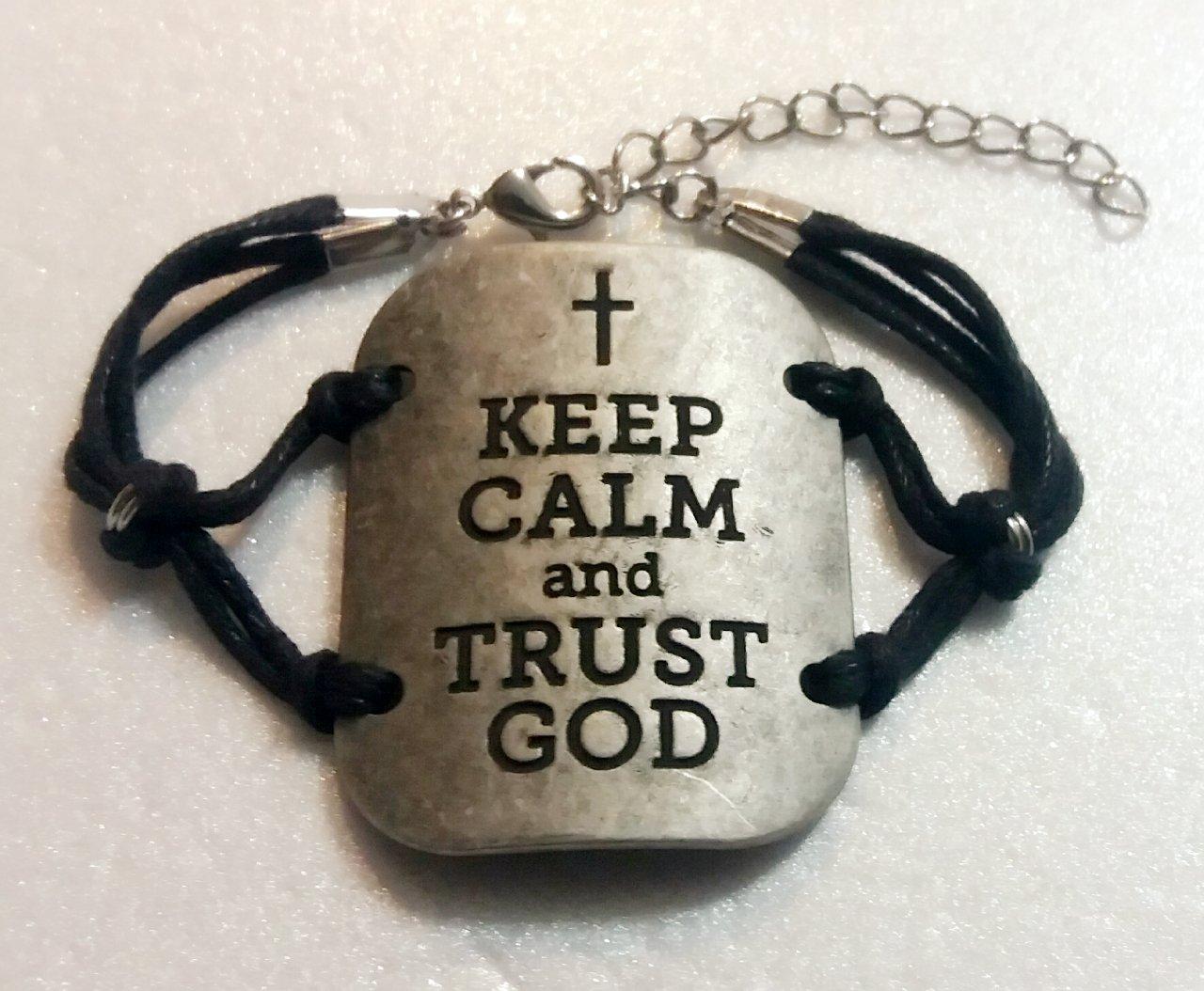 KEEP CALM AND TRUST GOD ADJUSTABLE HANDMADE BRACELET (BLACK)