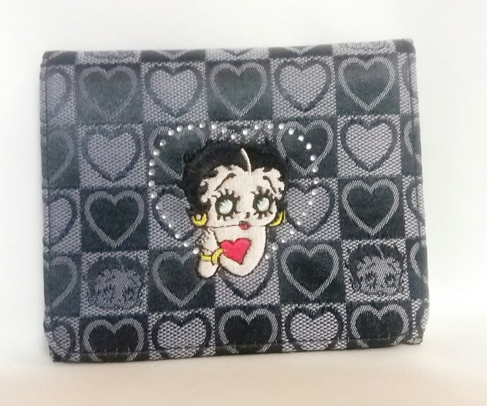 BLACK BETTY BOOP WOVEN WALLET WITH RHINESTONES