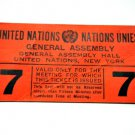 Ticket United Nations General Assembly 1968