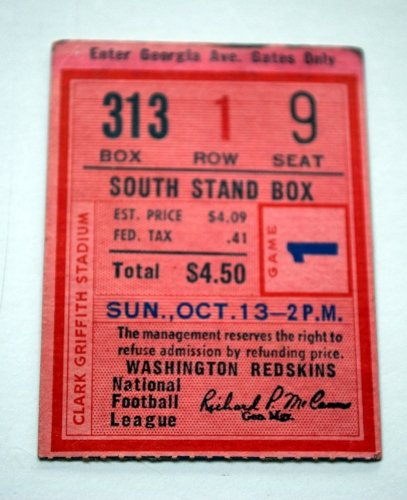 Ticket Stub Washington Redskins 1960s