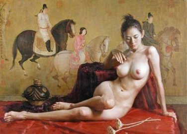 Nude Chinese Beauty Oil Portrait on Canvas NEW!
