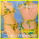 Bikini Swimwear with Bra cap, Yellow Floral