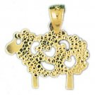 14K GOLD ANIMAL CHARM - SHEEP #2627