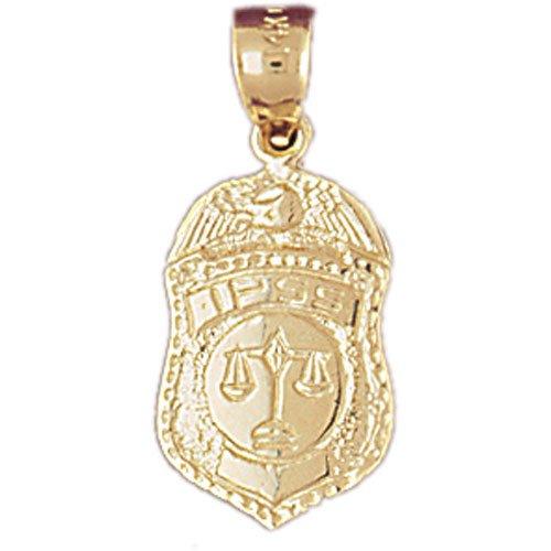14K GOLD CHARM - POLICE BADGE #4555
