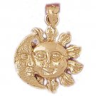 14K GOLD CHARM - SUN AND MOON #5673