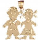 14K GOLD CHILDREN'S CHARM - BOY & GIRL #5894