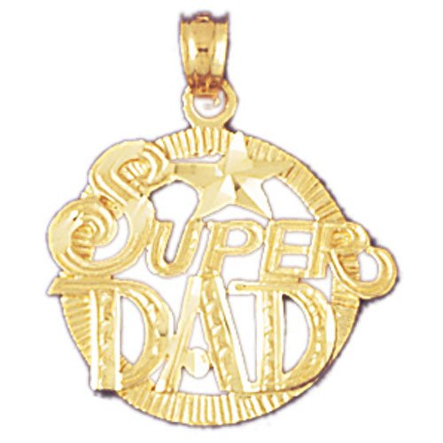 14K GOLD SAYING CHARM - SUPER DAD #9865