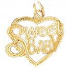 14K GOLD SAYING CHARM - SWEET BABY #10292