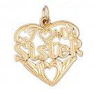 14K GOLD SAYING CHARM - I LOVE MY SISTER #9946