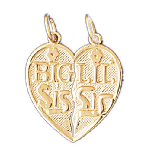 14K GOLD SAYING CHARM - BIG SIS LIL' SIS #9935
