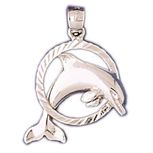 14K WHITE GOLD NAUTICAL CHARM - DOLPHIN #11013