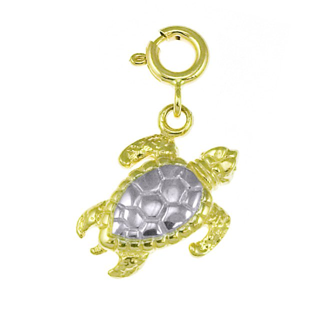 14K GOLD TWO TONE NAUTICAL CHARM - TURTLE #188