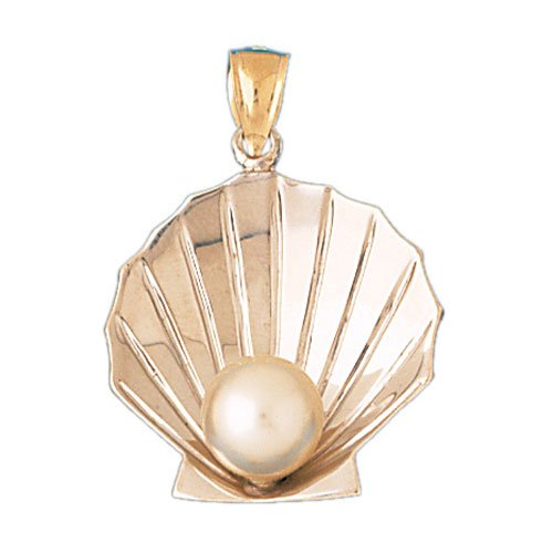 14K GOLD TWO TONE NAUTICAL CHARM - SHELL #176