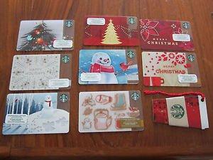 STARBUCKS GIFT CARDS - SET OF 9 BILINGUAL (French, English), CHRISTMAS, NEW