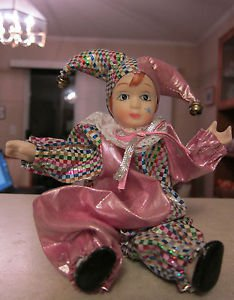 "Clown Doll 10"" Porcelain face, legs and arms with pink costume, collectible item"