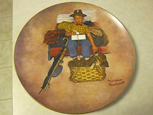 Norman Rockwell - Scotty's Stowaway, Original art, First Edition, Round Plate