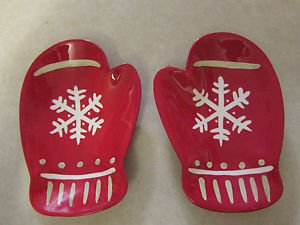 Two (2) Hallmark Red Christmas Mittens Serving Dishes, Plates, Bowls