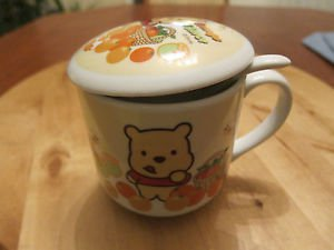 DISNEY ORANGE FLAVOR MUG / CUP WITH SPOON AND COVER, THEME WINNIE THE POOH