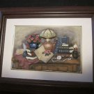 "Framed Ceramic Artwork by Cherison, Matted, Mahogany Frame, Hand made 9"" x 7"""