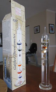 "14.5"" (37cm) GALILEO Glass & LIQUID Fluid EXPANSION Thermometer"