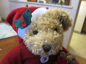 "Russ Berrie Sammy Santa Plush Teddy Bear Stuffed Animal 14"" Puppy Christmas Doll"