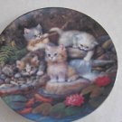 Kahla Germany Porcelain Plate - Kittens by the Pond - Goldfish Waterfall